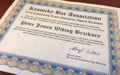 Attorney Peter Brackney Awarded 2016 Continuing Legal Education Award Renewal